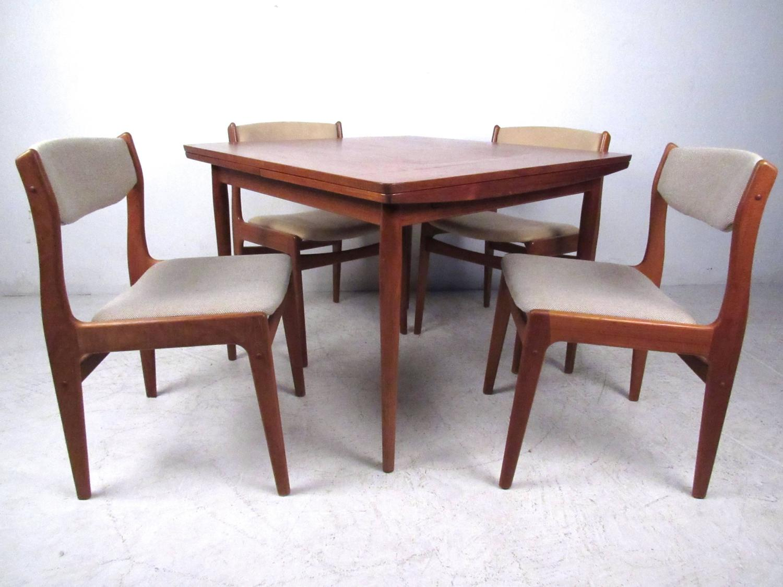 mid century modern danish teak drawleaf dining set for sale at 1stdibs