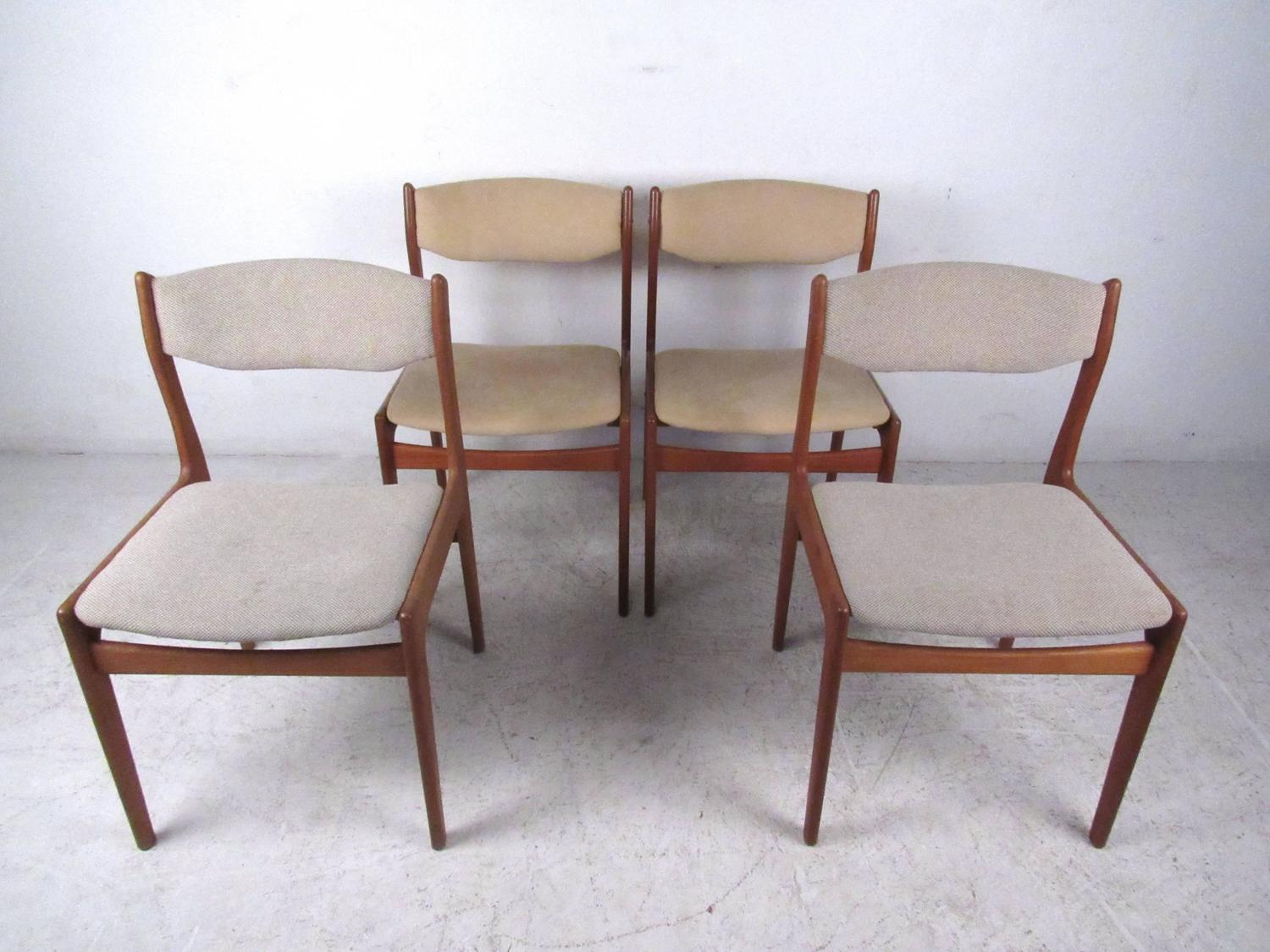 set of mid century modern danish teak dining chairs for