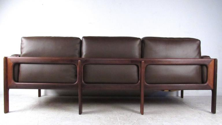 Mid-Century Rosewood Sofa by Komfort In Good Condition For Sale In Brooklyn, NY
