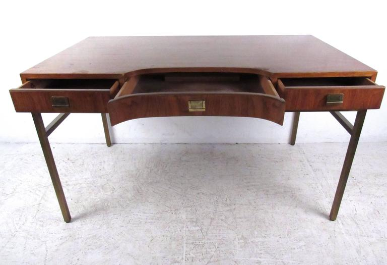 This Unique Vintage Desk Features Brass Trim And Frame In The Classic Campaign Style