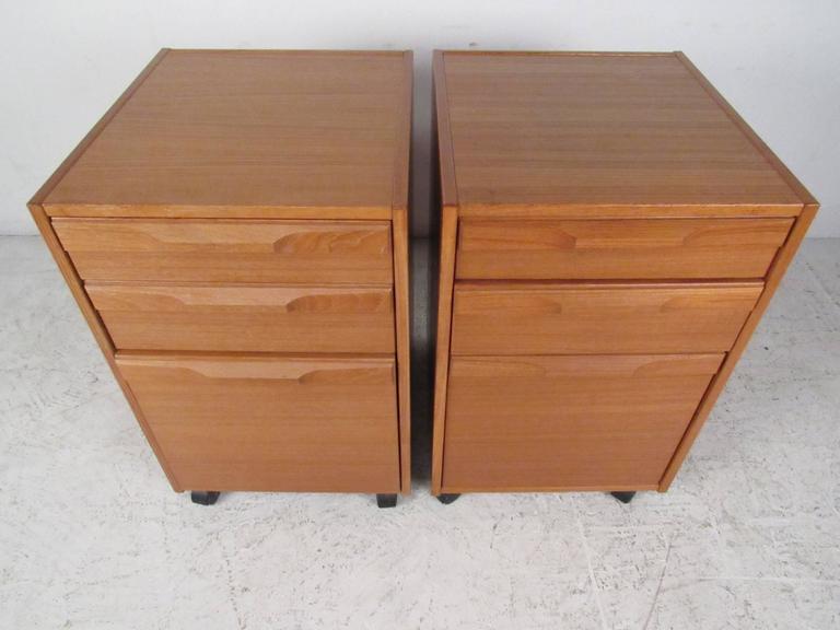 Beau Pair Of Mid Century Danish Teak Filing Cabinets By Denka