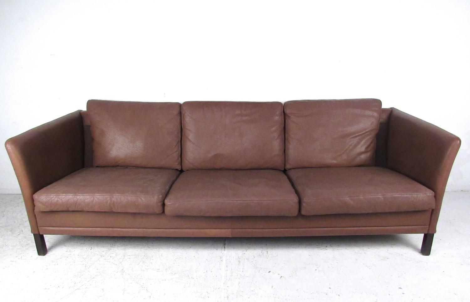 Impressive Danish Modern Leather Sofa For Sale at 1stdibs