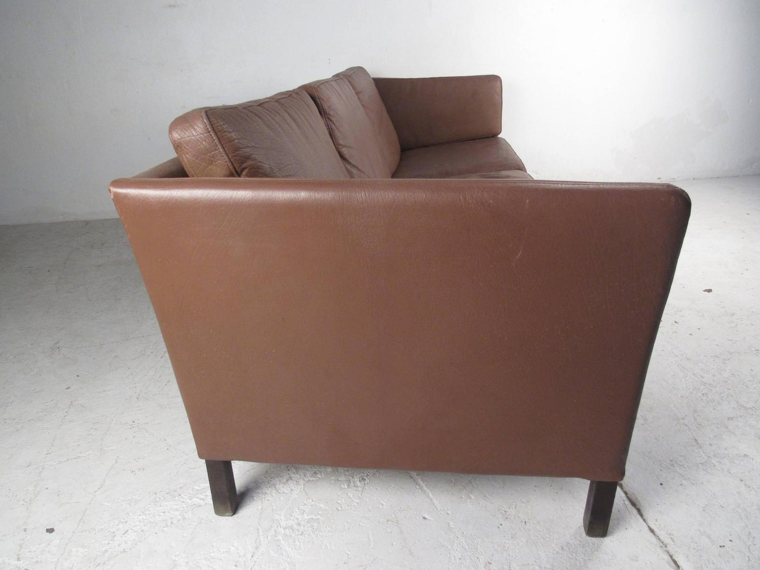 impressive mid century danish modern leather sofa for sale at 1stdibs