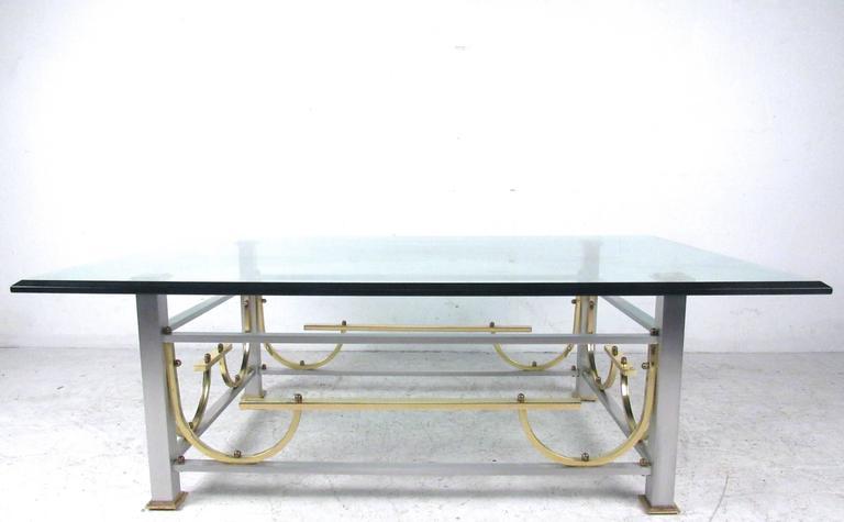 Late 20th Century Mid-Century Modern Maison Jansen Style Chrome & Brass Coffee Table For Sale