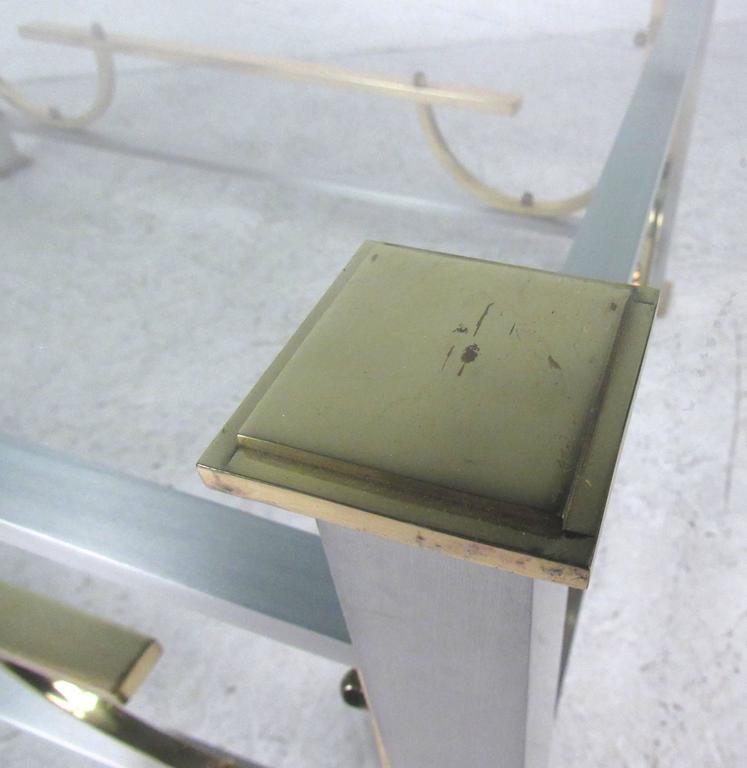 Mid-Century Modern Maison Jansen Style Chrome & Brass Coffee Table For Sale 4