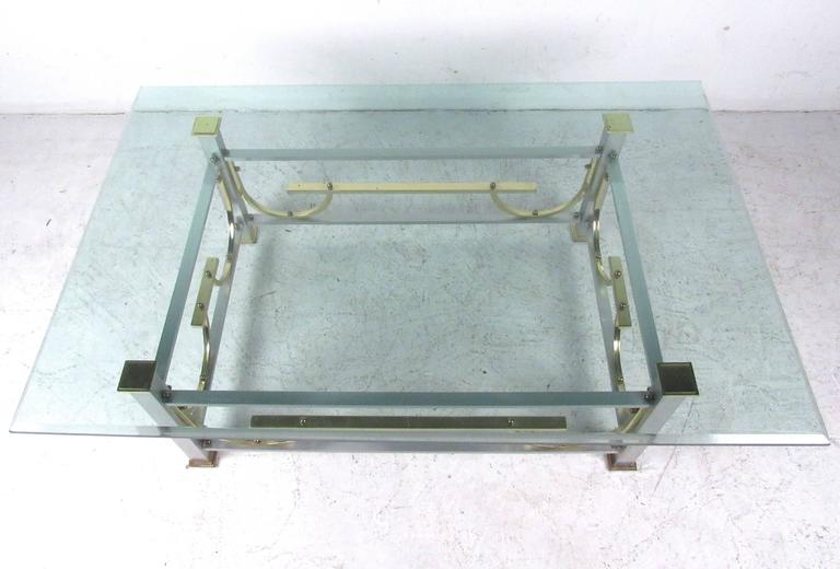 Mid-Century Modern Maison Jansen Style Chrome & Brass Coffee Table For Sale 2