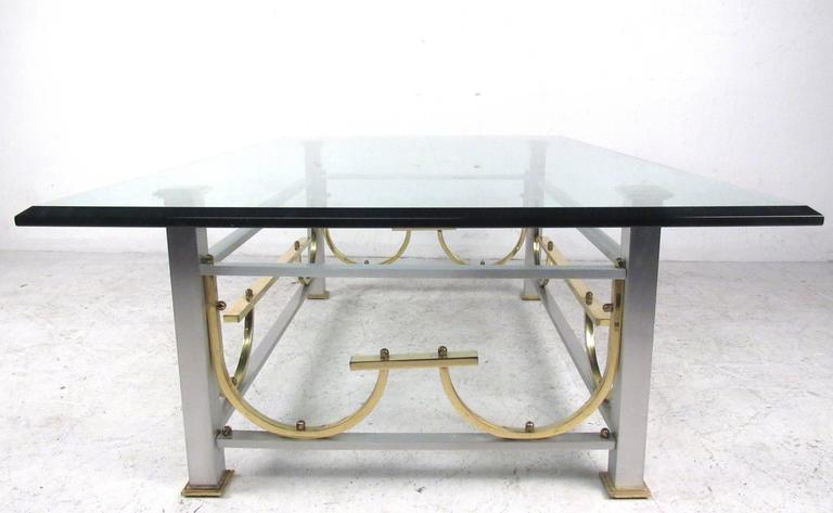Mid-Century Modern Maison Jansen Style Chrome & Brass Coffee Table For Sale 1