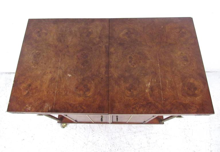 American Mid-Century Modern Burl Wood Bar Cart by Weiman For Sale