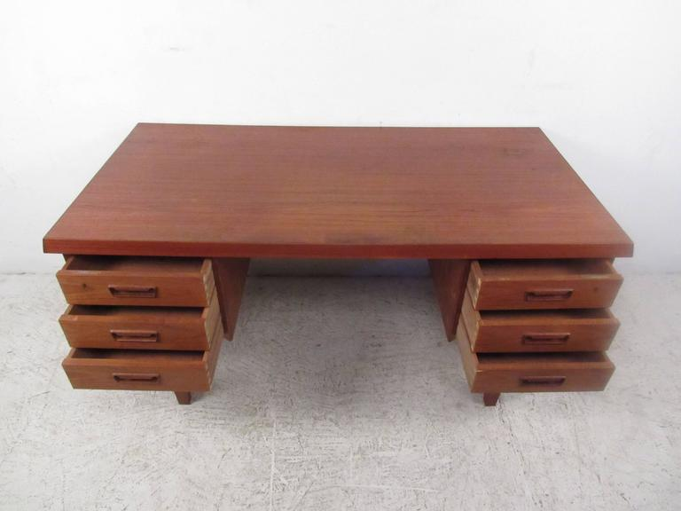 Unique Mid-Century Modern Danish Teak Sled Leg Desk In Good Condition For Sale In Brooklyn, NY