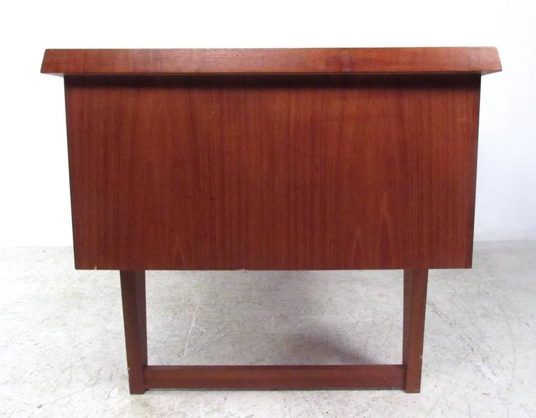Mid-20th Century Unique Mid-Century Modern Danish Teak Sled Leg Desk For Sale