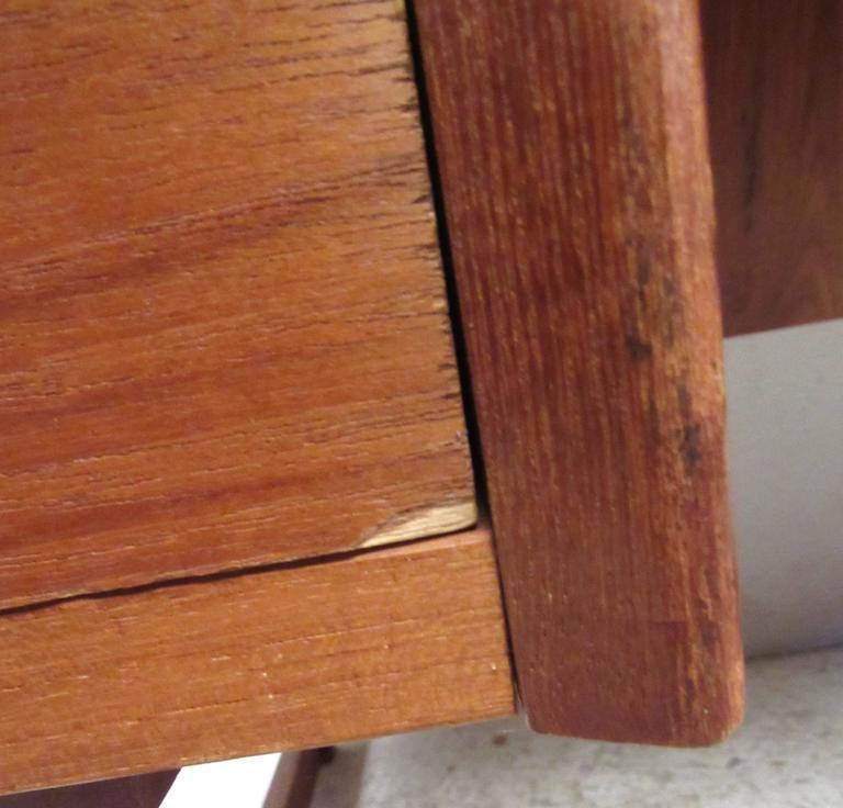 Unique Mid-Century Modern Danish Teak Sled Leg Desk For Sale 5