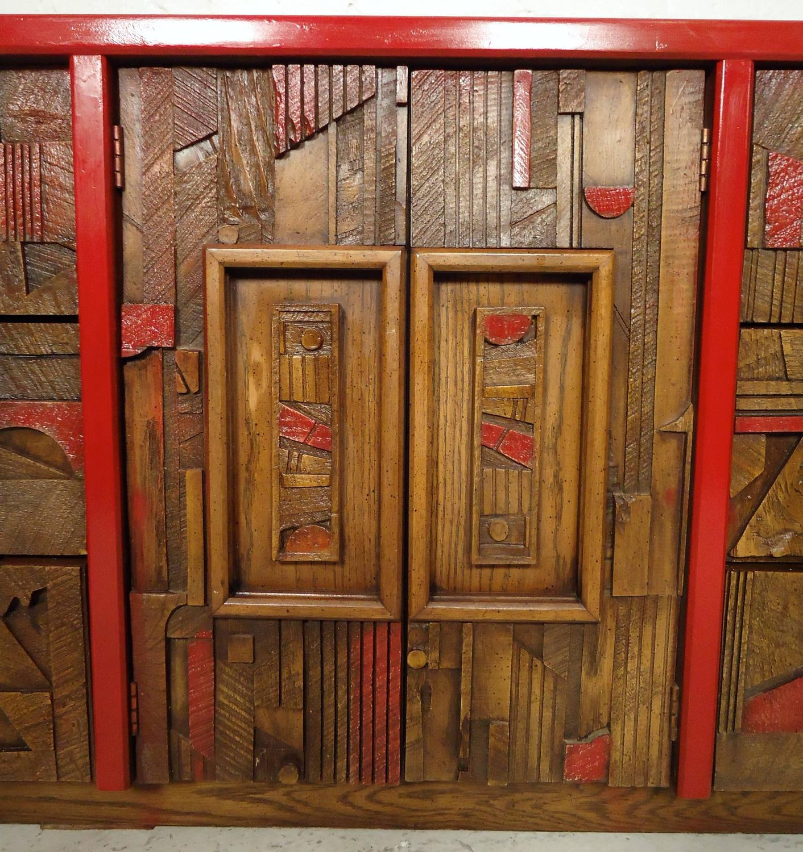 Custom Mid-Century Brutalist Dresser By Lane For Sale At