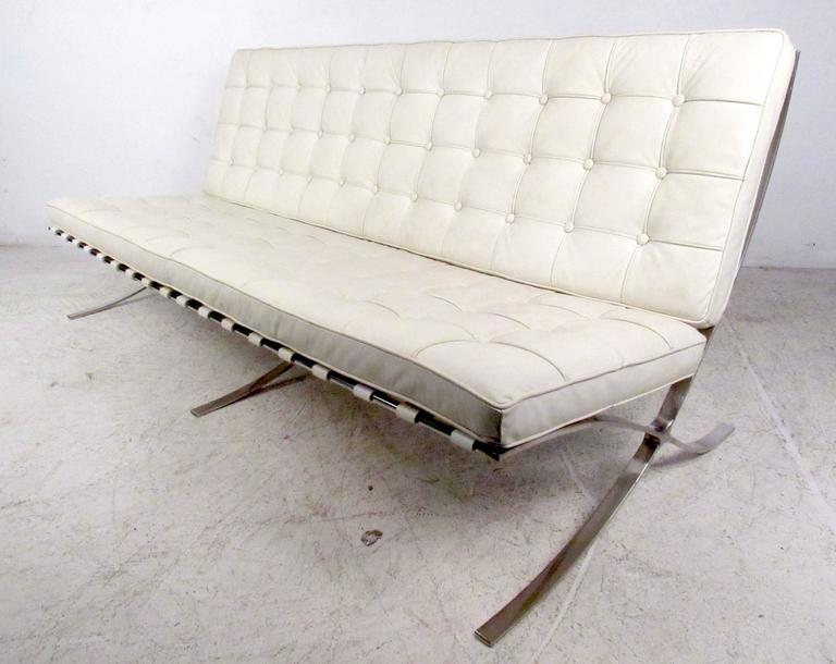 Mid-Century Modern Vintage Barcelona Style Leather Sofa For Sale
