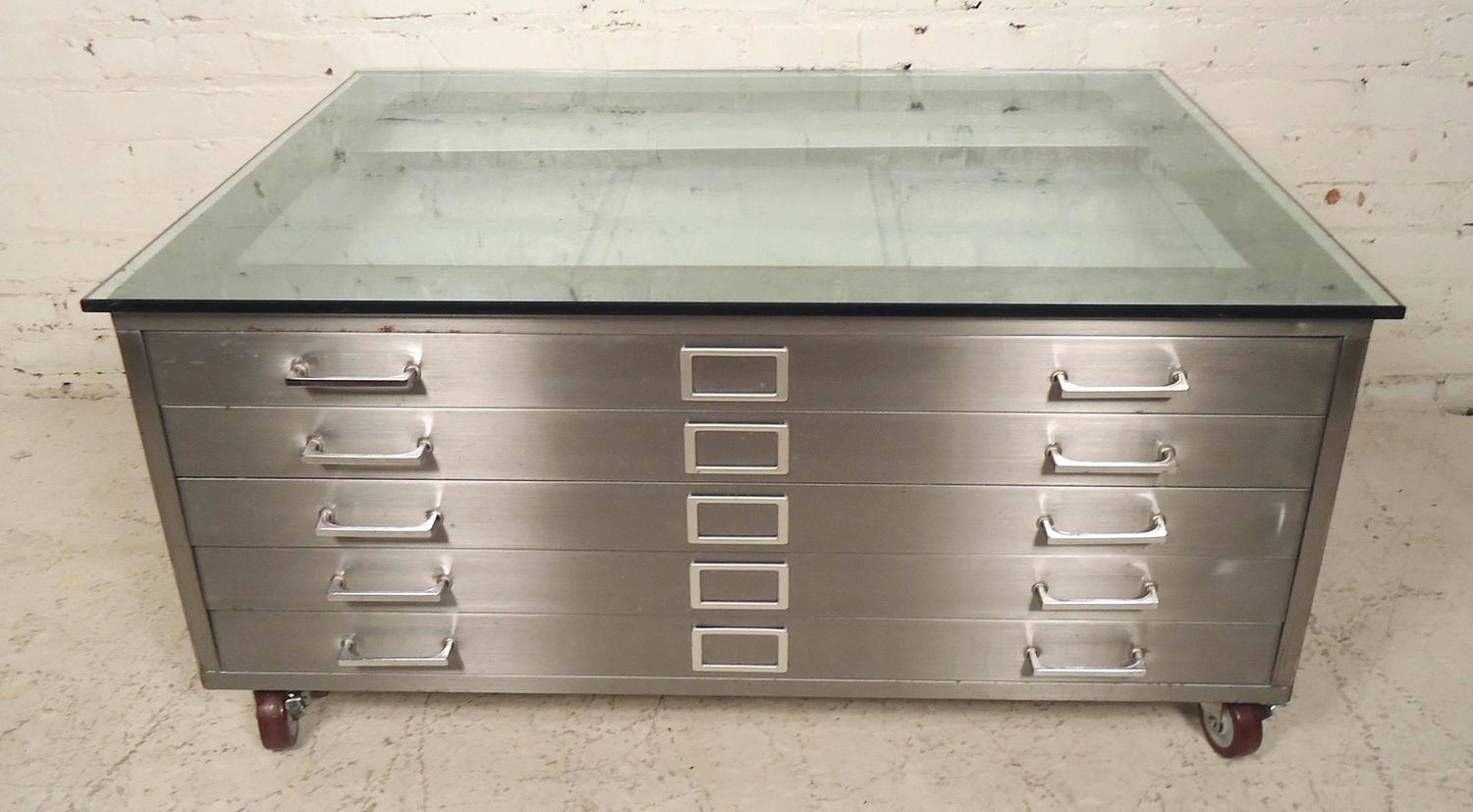 Custom Flat File Coffee Table At 1stdibs