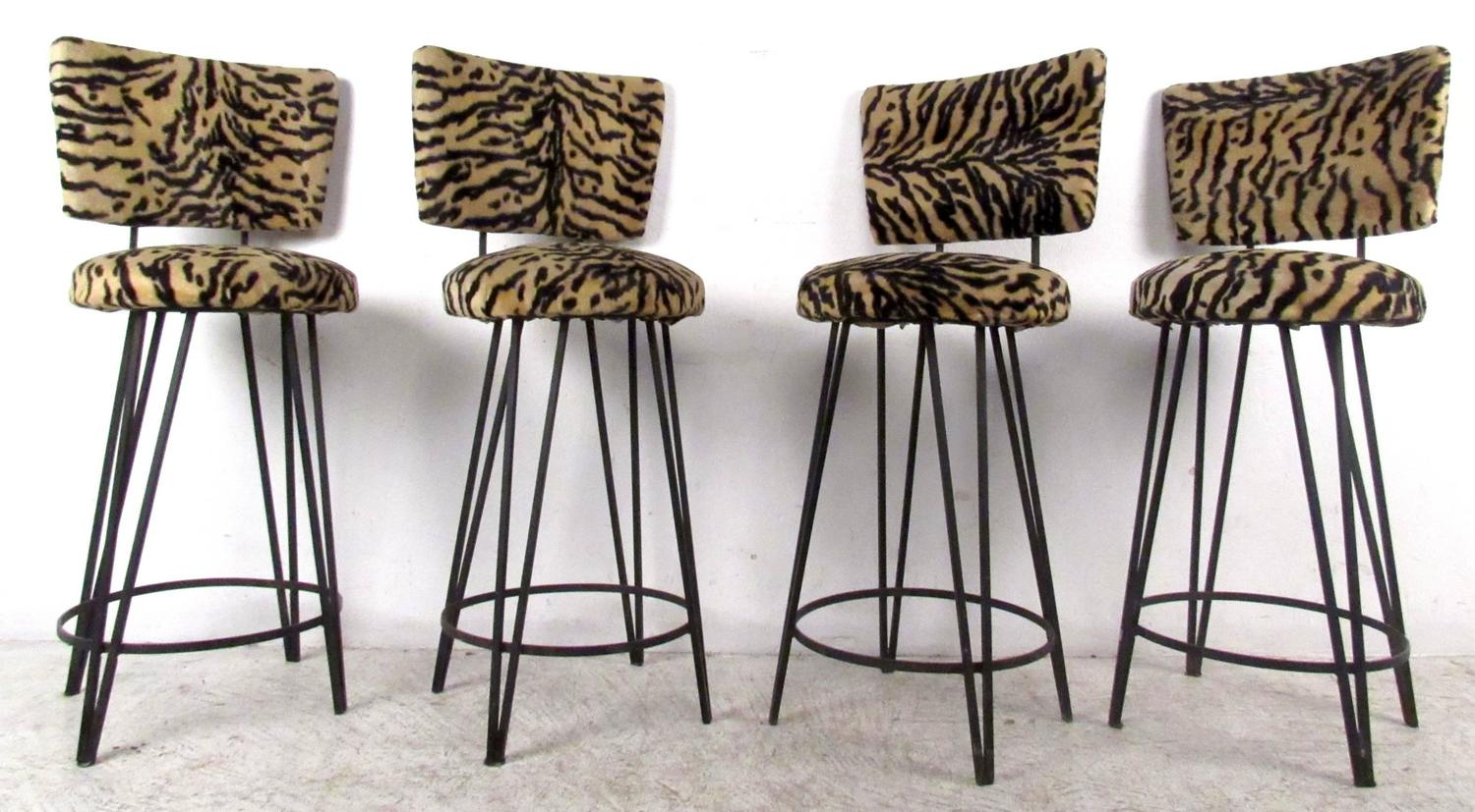 Four Mid Century Leopard Print Stools For Sale At 1stdibs