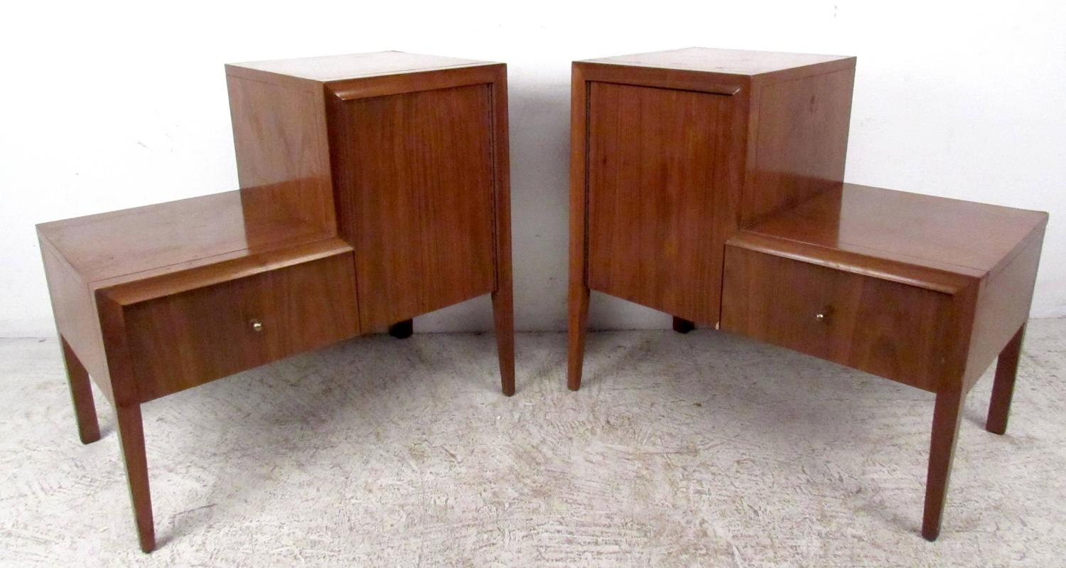 Pair of Unique Mid-Century Nightstands For Sale at 1stdibs