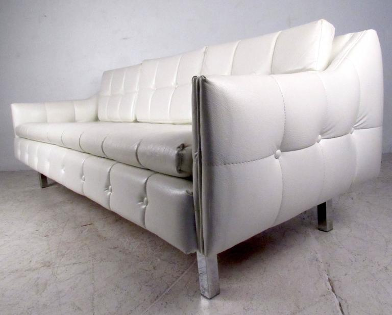 Vintage Three Seat Sofa With Tufted Vinyl For Sale 2