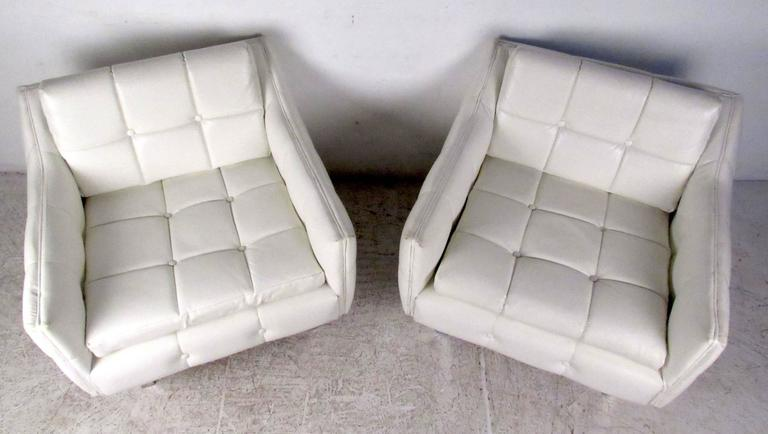 Faux Leather Pair Mid-Century Modern Lounge Chairs For Sale