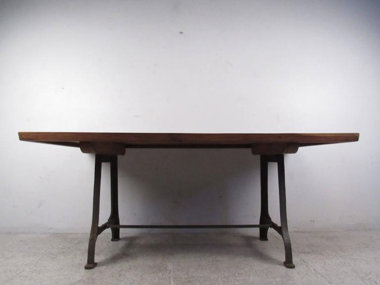 Mid Century Industrial Style Iron Base Dining Table For Sale At 1stdibs