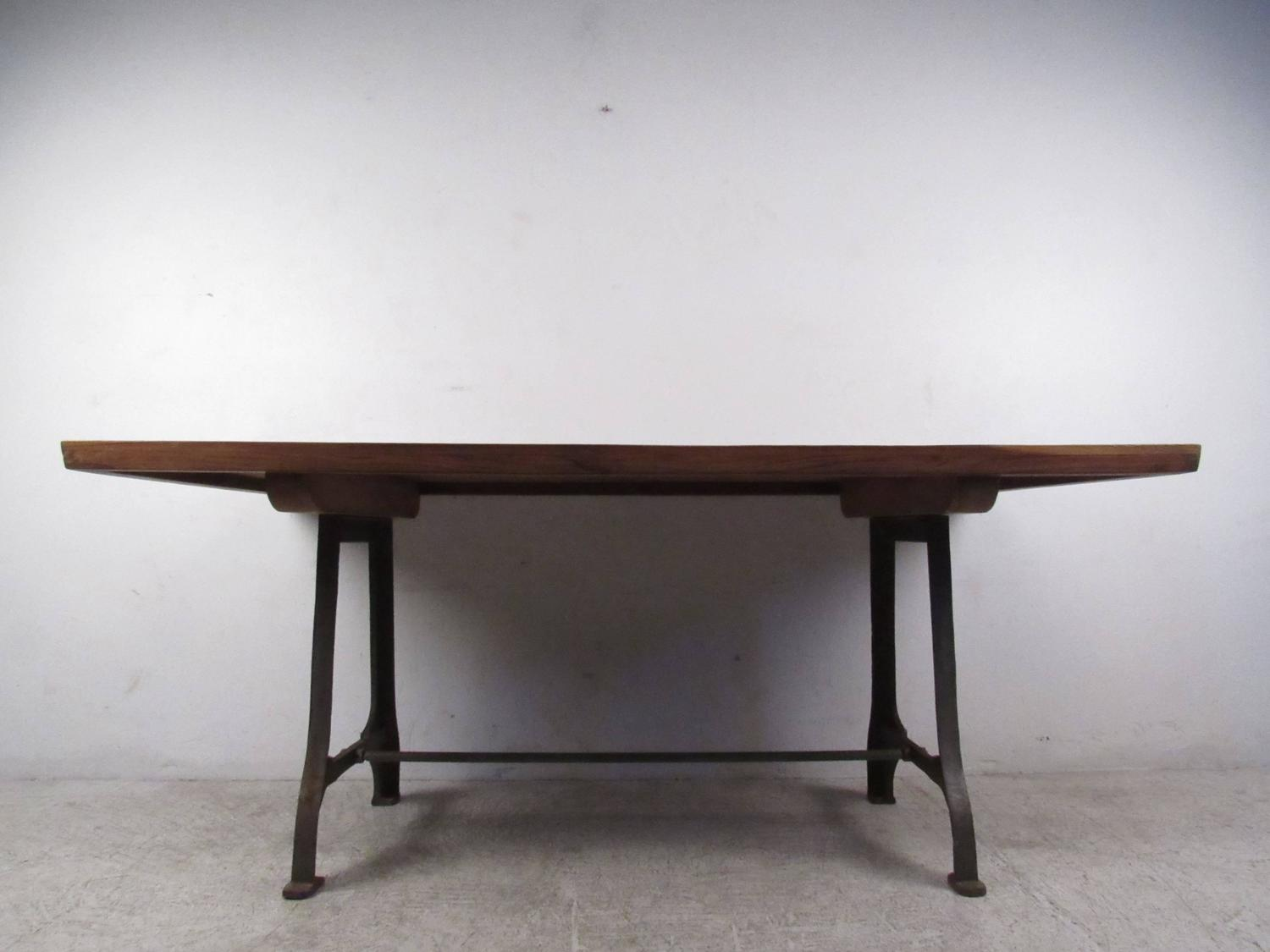 Mid Century Industrial Style Iron Base Dining Table For Sale At