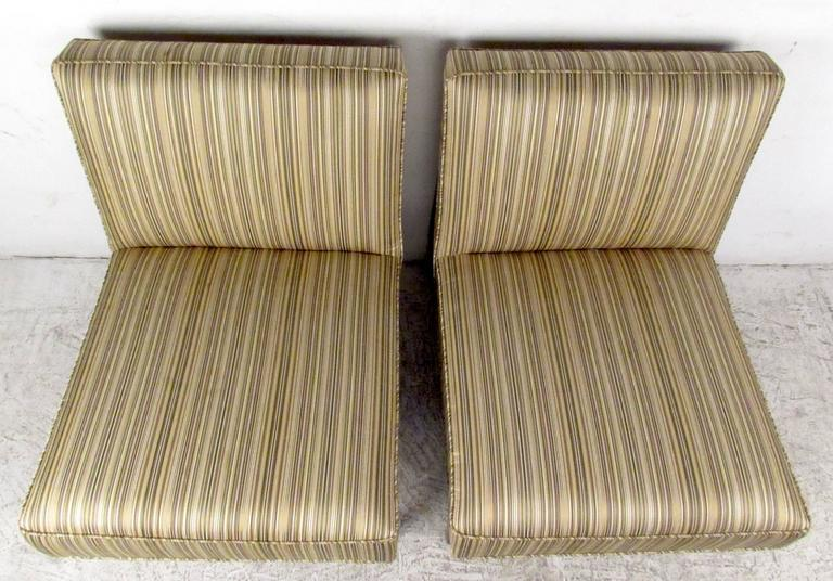 Upholstery Pair of Jens Risom Style Slipper Chairs For Sale