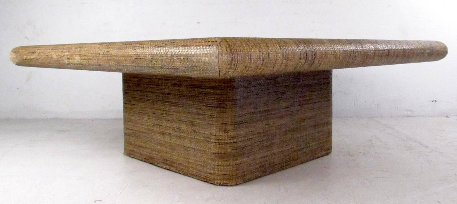 mid century springer style grass cloth coffee table at 1stdibs