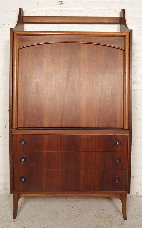 Rare Mid-Century Drop Front Cabinet and Desk For Sale 3