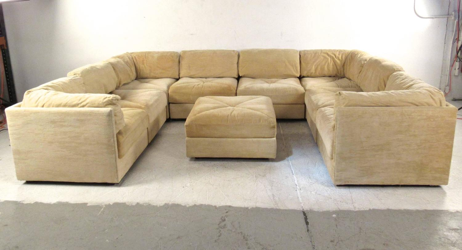 Large selig sectional sofa with ottoman mid century for Mid century sectional sofa for sale
