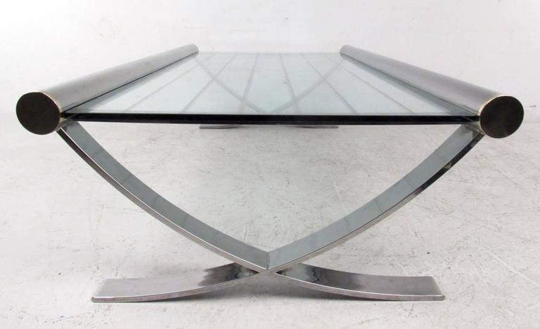 Mid-Century Chrome Coffee Table For Sale 2
