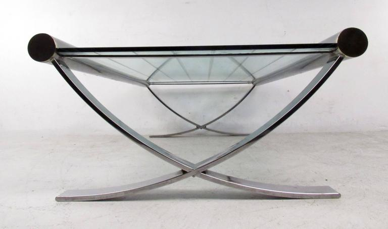 Mid-Century Chrome Coffee Table For Sale 3