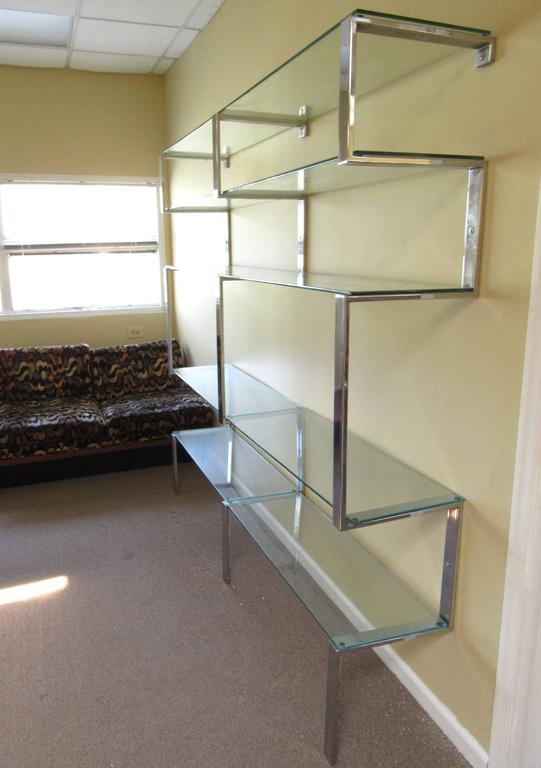 American MId-century Modern Chrome Bookshelf Wall Unit after Milo Baughman For Sale