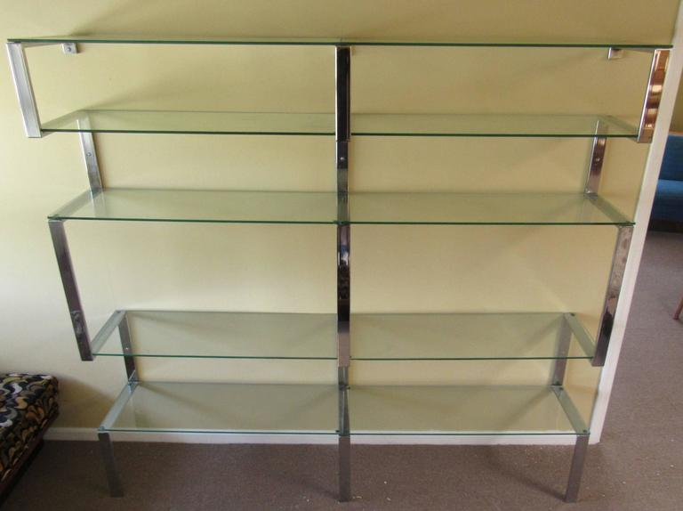 Vintage Chrome Bookshelf Wall Unit after Milo Baughman In Good Condition For Sale In Brooklyn, NY