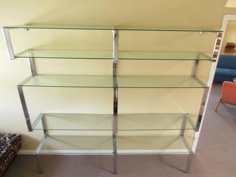 Mid-Century Modern MId-century Modern Chrome Bookshelf Wall Unit after Milo Baughman For Sale
