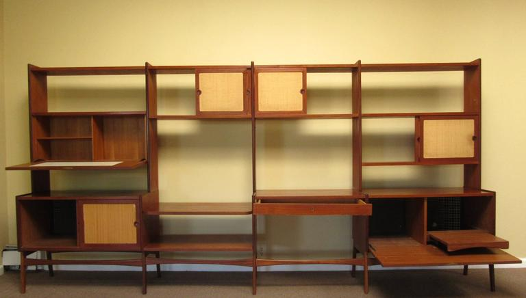 Mid-Century Modern Teak Freestanding Wall Unit, Cane Front Room ...