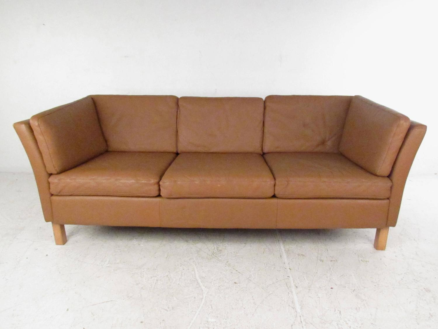 danish modern leather sofa mid century mogensen style couch for sale