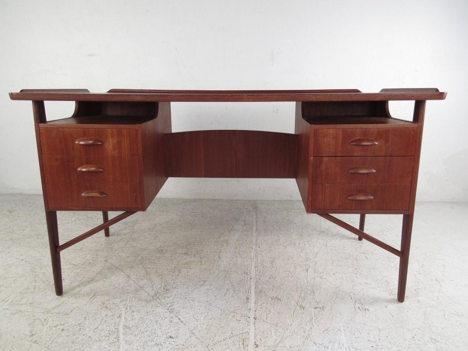 Mid century modern kai kristiansen style danish teak for Floating desk for sale
