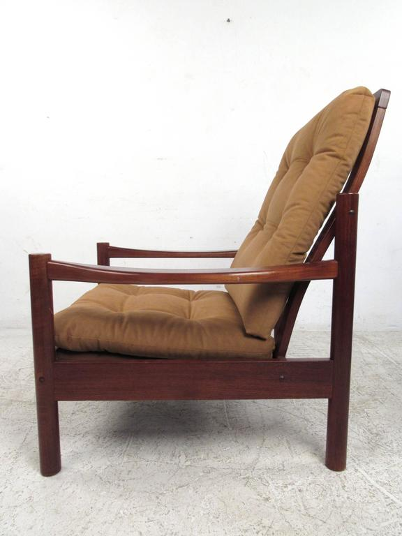 20th Century Pair Mid-Century Style Danish Teak Lounge Chairs with Ottoman For Sale