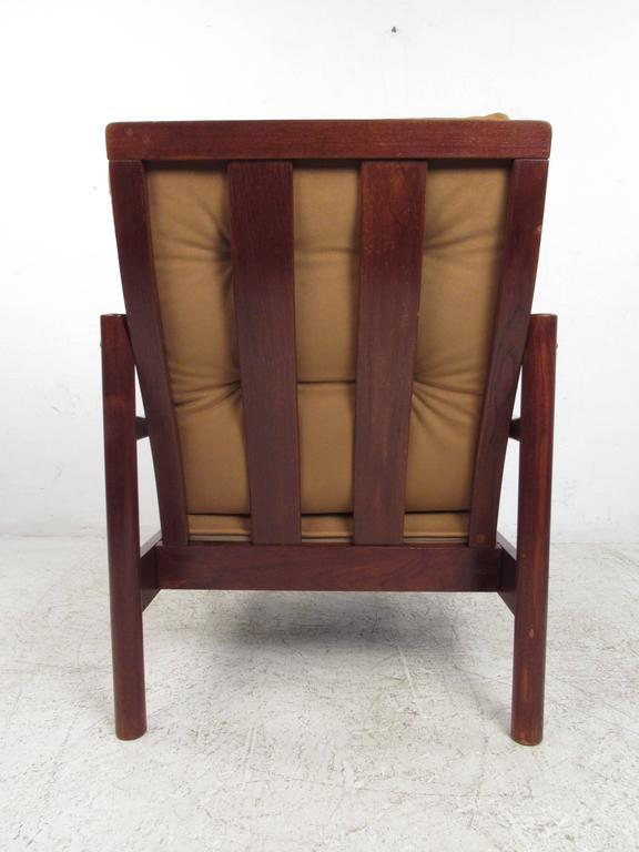 Mid-Century Modern Pair Mid-Century Style Danish Teak Lounge Chairs with Ottoman For Sale