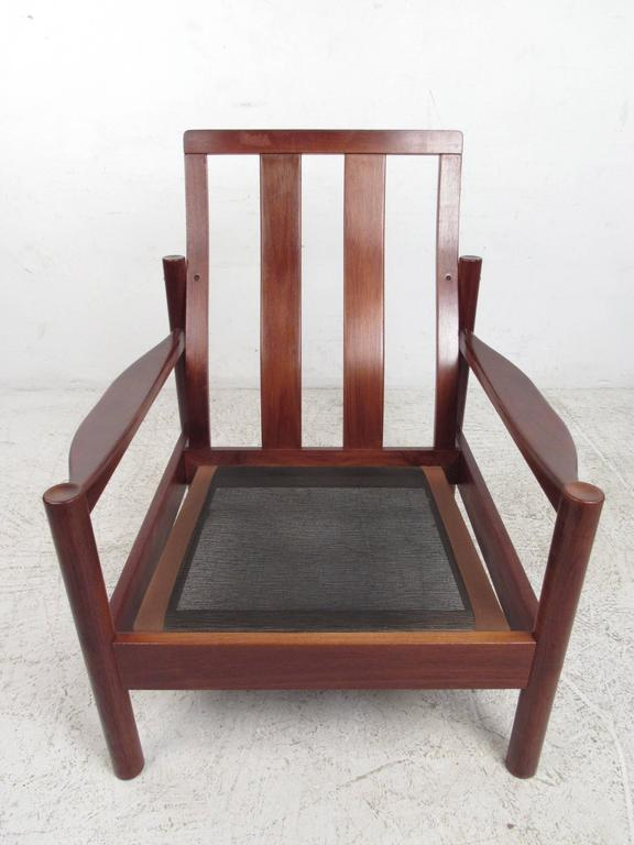 Pair Mid-Century Style Danish Teak Lounge Chairs with Ottoman For Sale 1