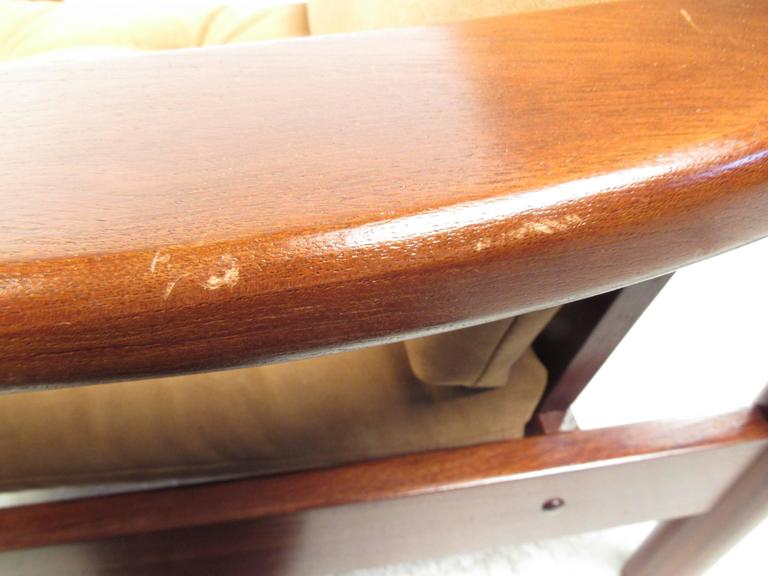 Pair Mid-Century Style Danish Teak Lounge Chairs with Ottoman For Sale 3