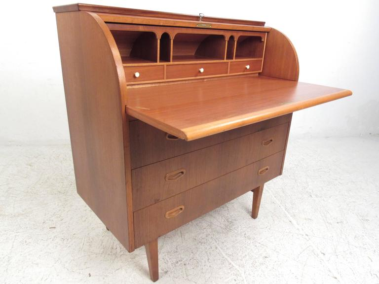 This Vintage Teak Roll Top Secretary Desk Provides A Stylish Yet Compact Worke In Any Setting