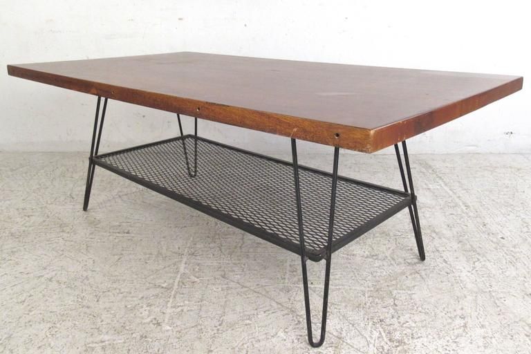 Vintage Industrial Style Coffee Table with Hairpin Legs at ...