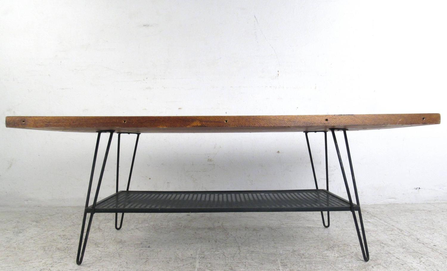 Vintage Industrial Style Coffee Table With Hairpin Legs For Sale At 1stdibs