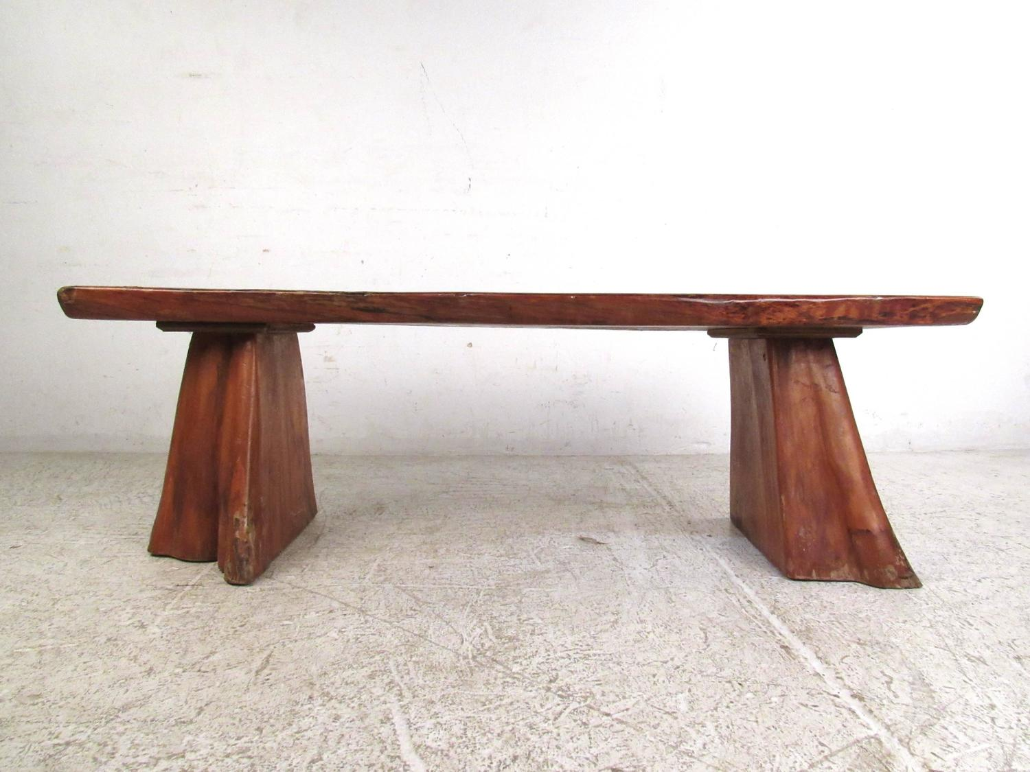 Vintage Rustic Wooden Bench Sculpted Live Edge Treetrunk
