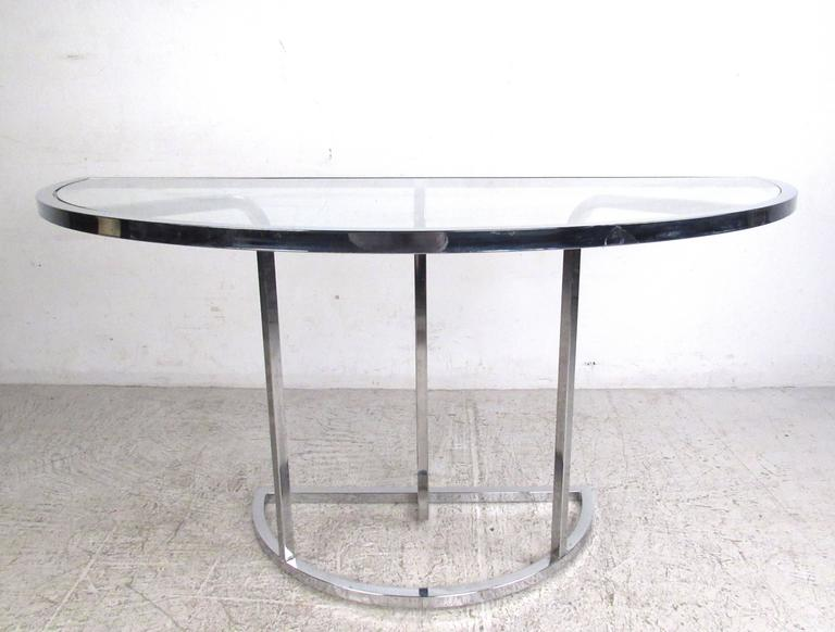 Vintage Modern Demilune Hall Table MidCentury Chrome and Glass