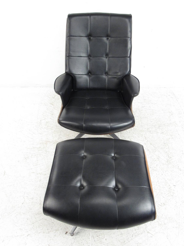 Heywood wakefield swivel lounge chair with ottoman at 1stdibs