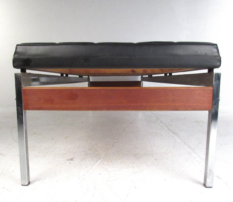 Vintage Vinyl And Chrome Three Seat Bench For Sale At 1stdibs
