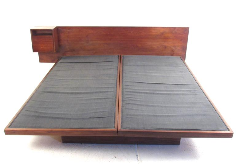 Jens Risom Vintage Teak King Size Platform Bed With End Table At 1stdibs