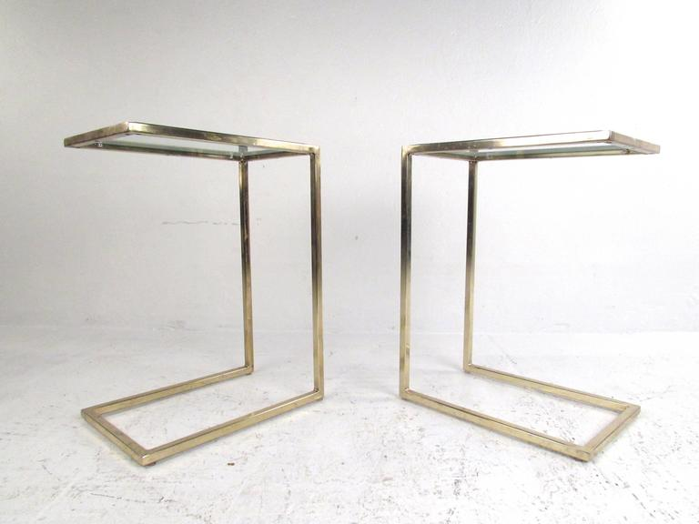 Pair Of Vintage Brass Cantilever End Tables 3