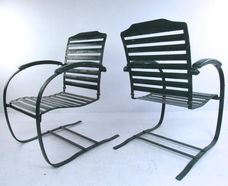 Pair Of Vintage Metal Spring Chairs Mid Century Patio